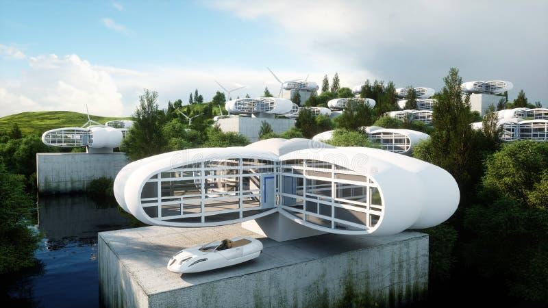 Cidade futurista, vila O conceito do futuro Silhueta do homem de negócio Cowering rendição 3d ilustração royalty free