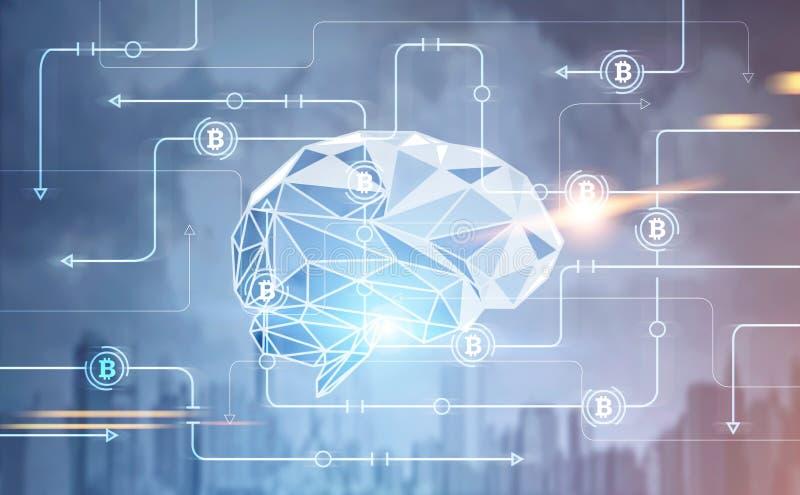 Cidade global do cérebro da interface de rede de Bitcoin fotografia de stock royalty free
