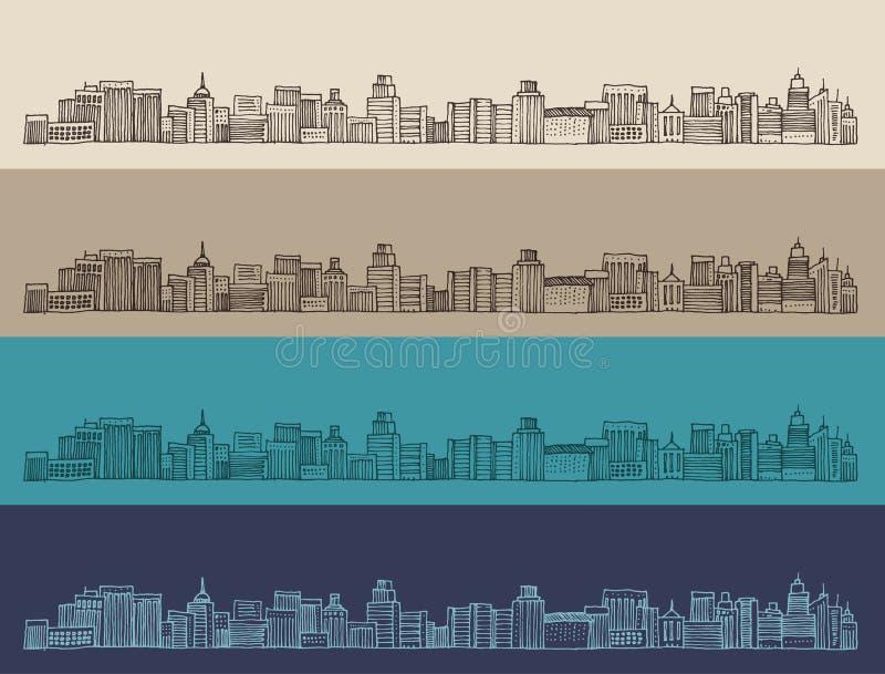 A cidade grande, arquitetura, gravou a ilustração, mão tirada ilustração royalty free