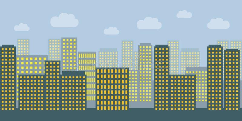 Cidade grande com muitos arranha-céus e luzes comutadas ilustração stock