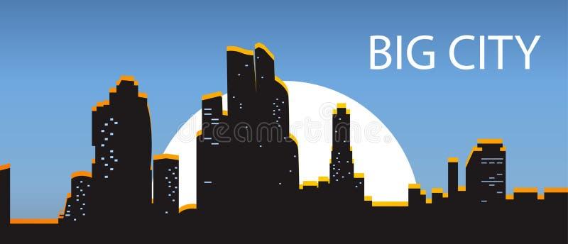 Cidade grande da bandeira azul Cidade da noite iluminada pelo sol em um dar ilustração do vetor