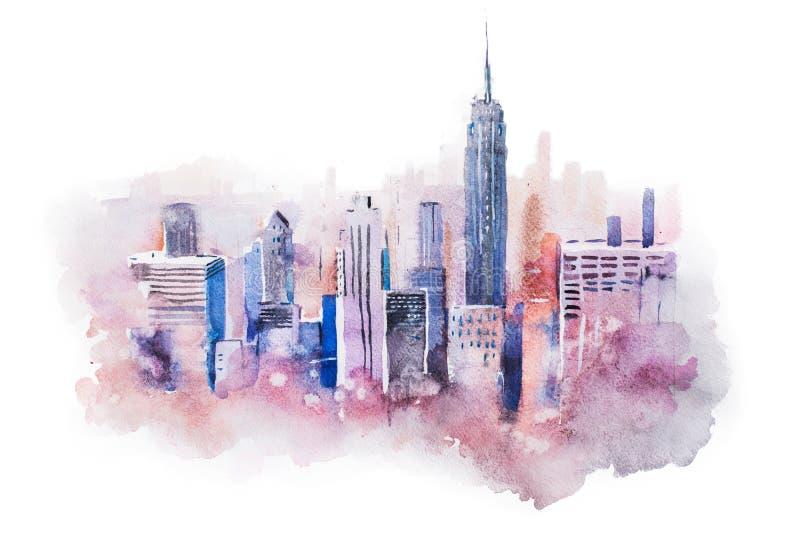 Cidade grande do centro, pintura da arquitetura da cidade do desenho da aquarela do aquarelle ilustração royalty free