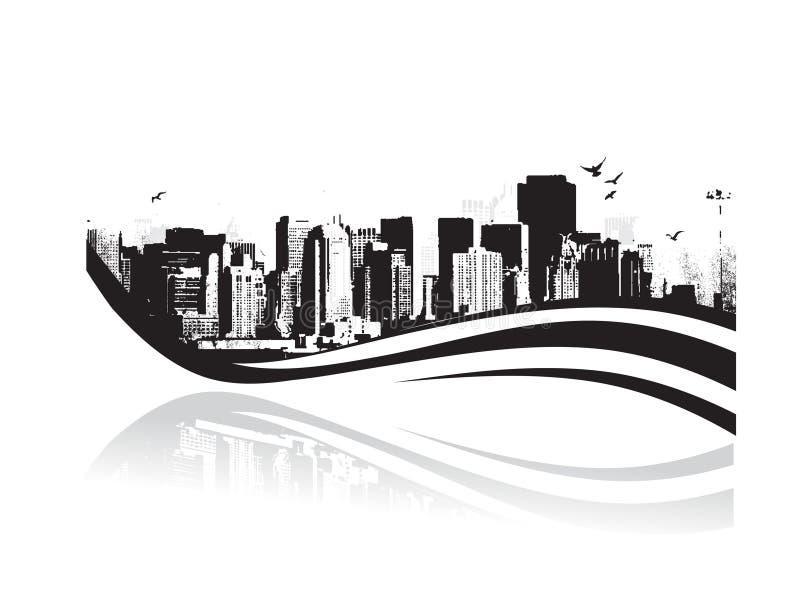 Cidade grande - Grunge denominou o fundo urbano. Vetor ilustração stock