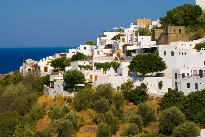 Cidade grega Lindos fotografia de stock royalty free