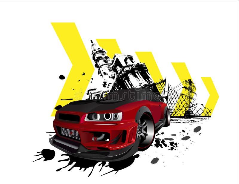 Cidade GTR personalizada do grunge da skyline de nissan ilustração stock