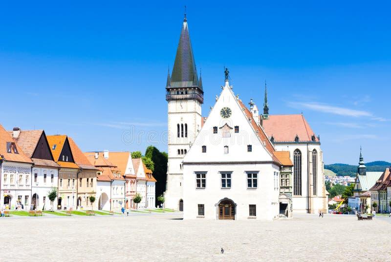 Cidade Hall Square, Bardejov, Eslov?quia fotografia de stock