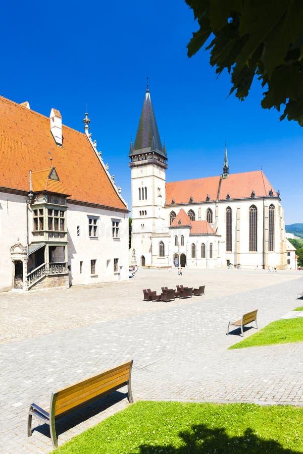 Cidade Hall Square, Bardejov, Eslov?quia foto de stock