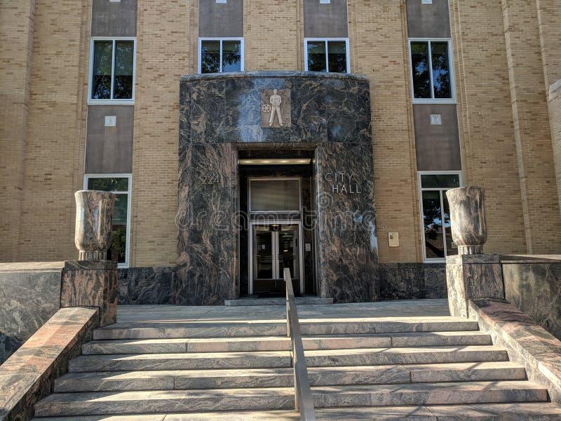 Cidade Hall Steps, fachada & portas, Sioux Falls foto de stock royalty free