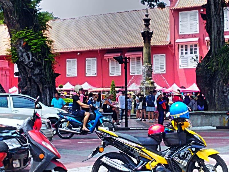Cidade histórica de construção vermelha Malásia de Melacca fotos de stock royalty free
