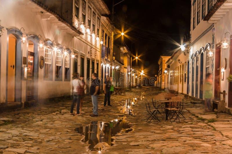 Cidade histórica de Paraty na noite imagens de stock royalty free