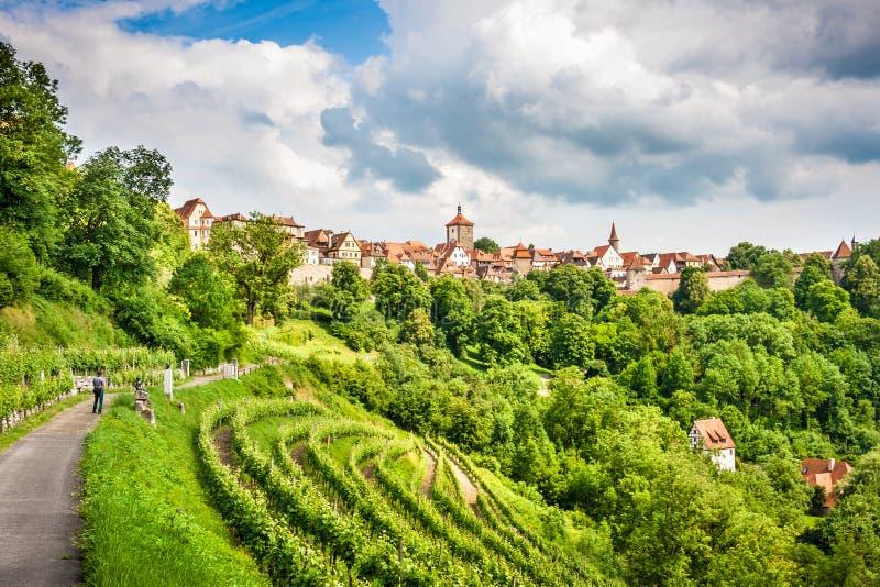 Cidade histórica do der Tauber do ob de Rothenburg, Franconia, Baviera, Alemanha imagem de stock