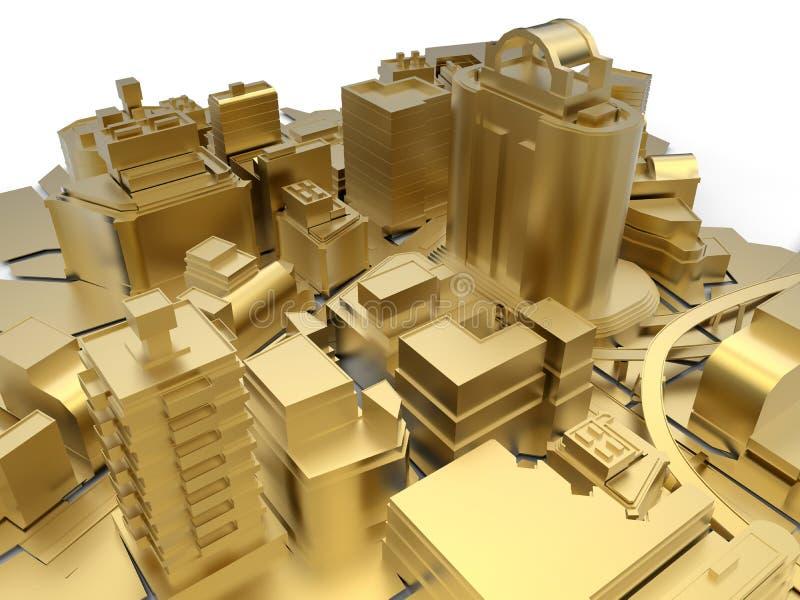 Cidade ideal dourada ilustração do vetor