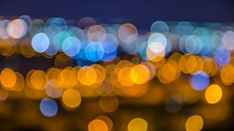 A cidade ilumina Bokeh fotografia de stock