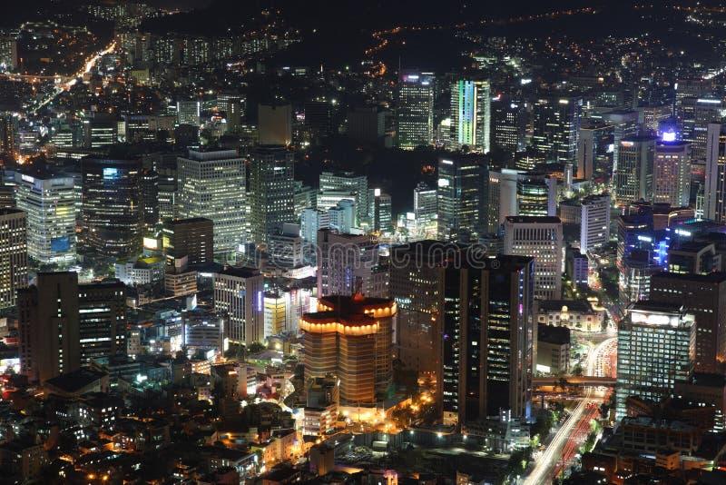 Cidade iluminada de Seoul imagem de stock royalty free