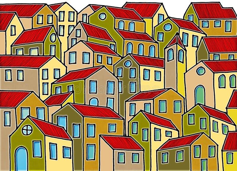 A cidade imaginária inspirou pelas cidades velhas de Tuscan - o ` m que de I o proprietário dos direitos de autor das imagens dos ilustração do vetor