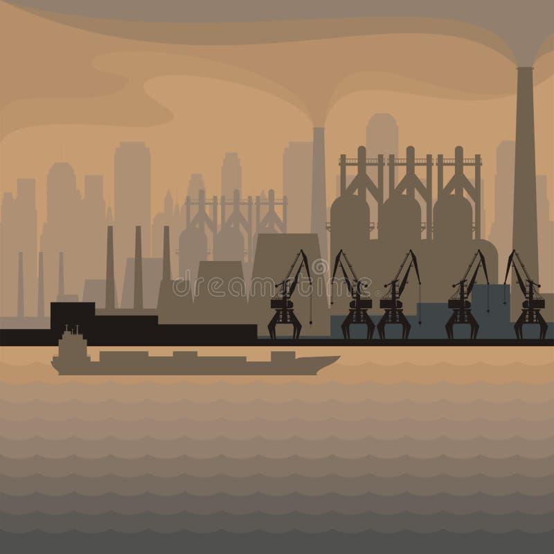 Cidade industrial do beira-mar ilustração do vetor