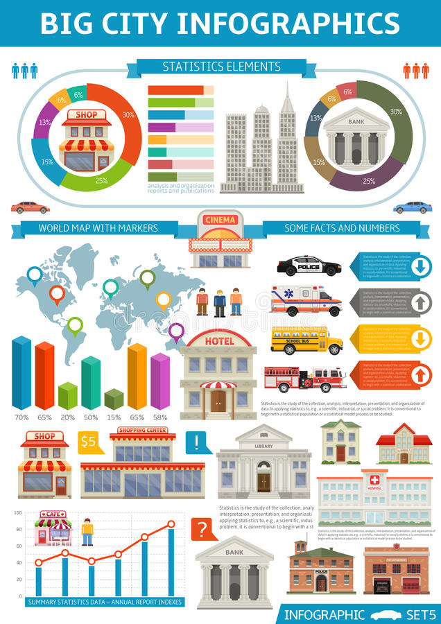 Cidade Infographics da oferta ilustração stock