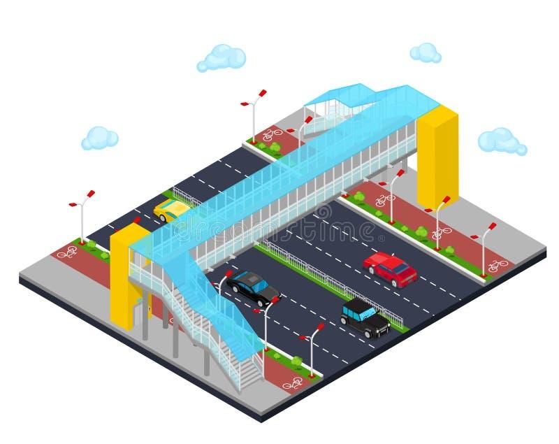 Cidade isométrica City Road com o trajeto da ponte pedestre e da bicicleta ilustração royalty free