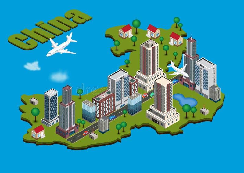 Cidade isométrica no mapa de China ilustração stock