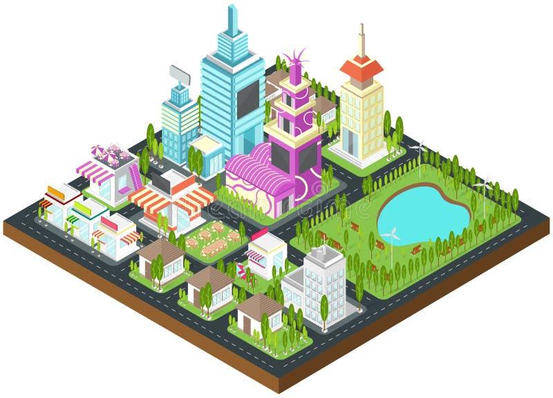 Cidade isométrica que constrói a arquitetura da arquitetura da cidade da casa dos bens imobiliários ilustração stock