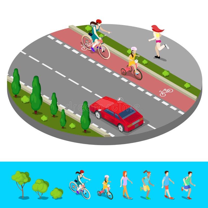 Cidade isométrica Trajeto da bicicleta com o passeio do ciclista com mulher running ilustração royalty free