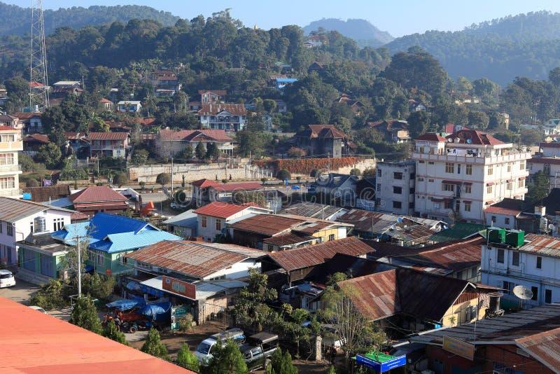 A cidade Kalaw em Myanmar fotos de stock royalty free