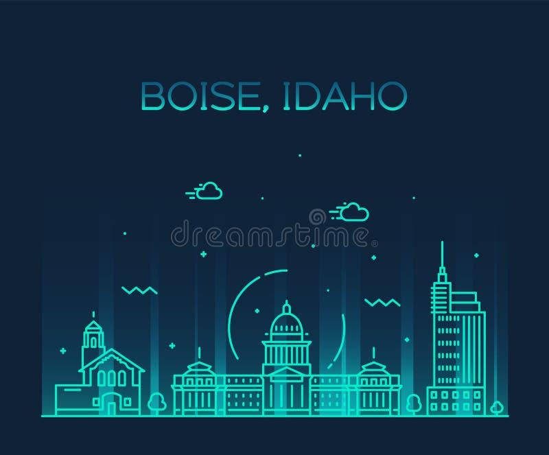 Cidade linear do estilo do vetor dos EUA da skyline de Boise Idaho ilustração stock
