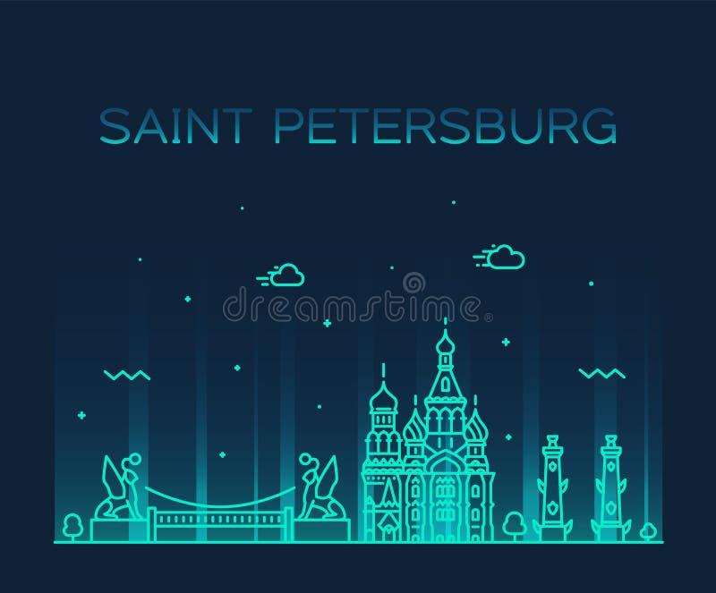 Cidade linear do vetor de Rússia da skyline de St Petersburg ilustração royalty free
