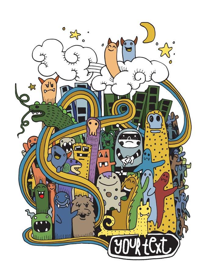 Cidade louca tirada mão do monstro da garatuja ilustração royalty free