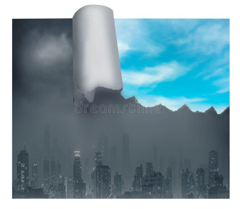 Cidade maçante com parte de céu azul foto de stock