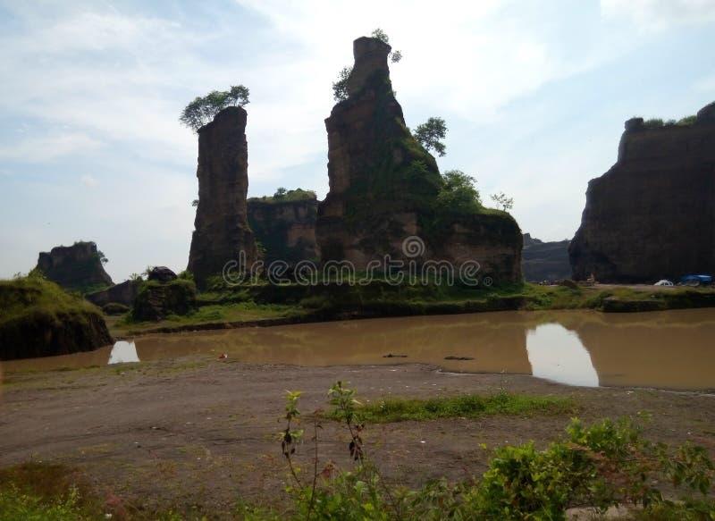 Cidade marrom Indonésia de semarang da garganta do panorama imagens de stock royalty free