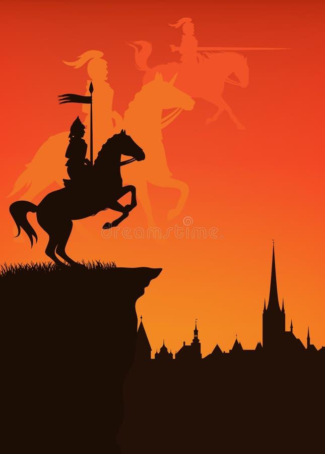 Cidade medieval ilustração royalty free