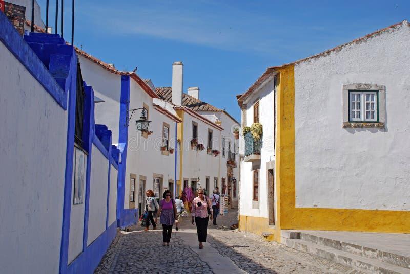 Cidade medieval de Obidos, Portugal fotos de stock royalty free