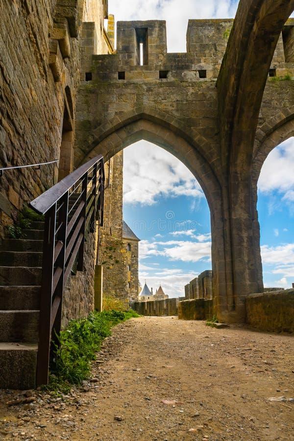 Cidade medieval fortificada de Carcassonne em França fotografia de stock