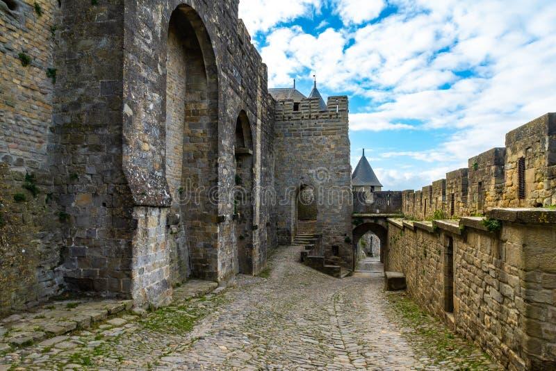 Cidade medieval fortificada de Carcassonne em França foto de stock royalty free
