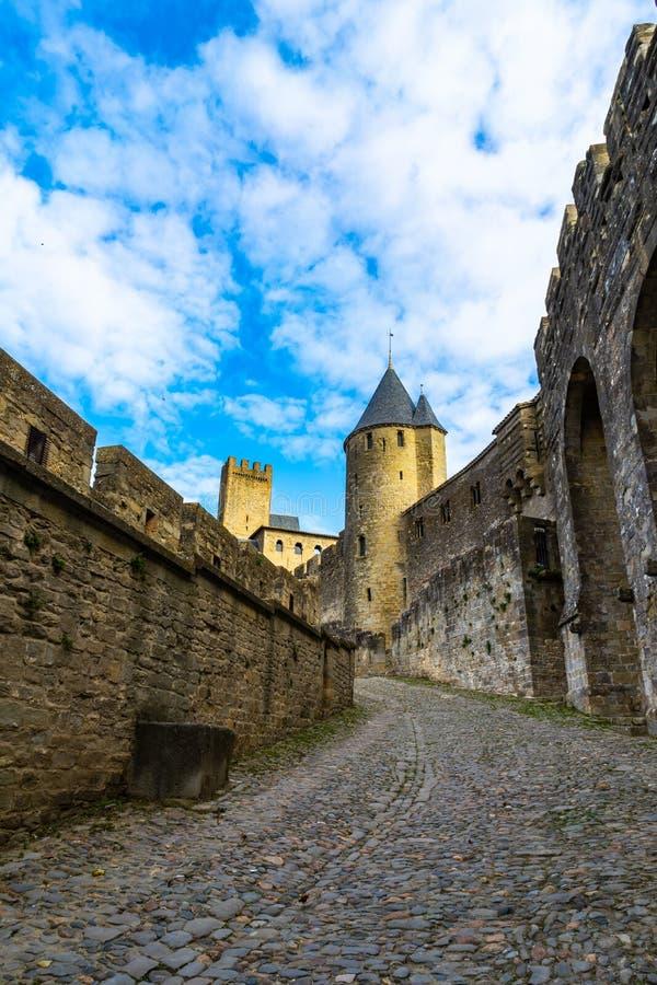 Cidade medieval fortificada de Carcassonne em França fotografia de stock royalty free