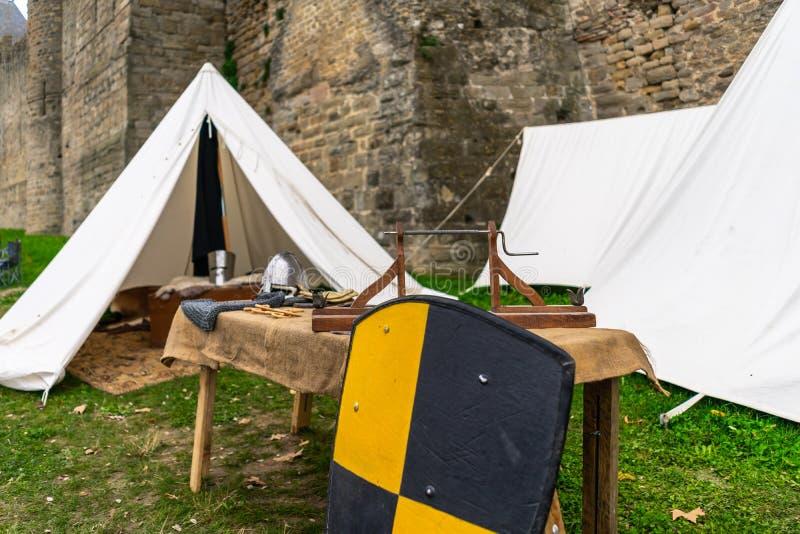 Cidade medieval fortificada de Carcassonne em França imagem de stock royalty free