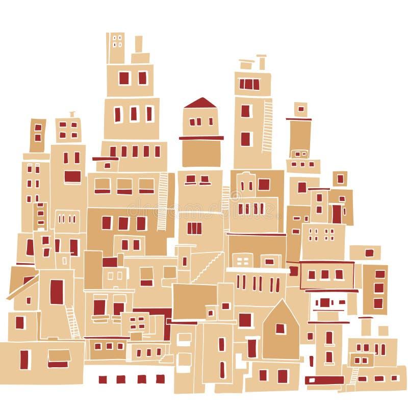 Cidade mediterrânea, vila ensolarada, precários indianos ilustração royalty free