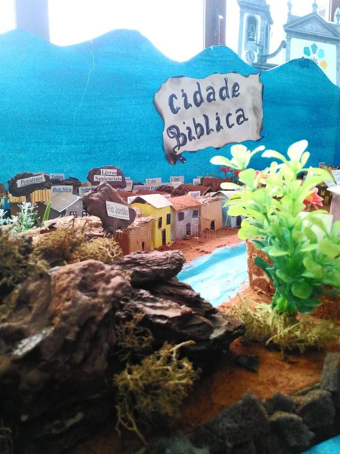 Cidade met de hand gemaakte Biblica - stock foto