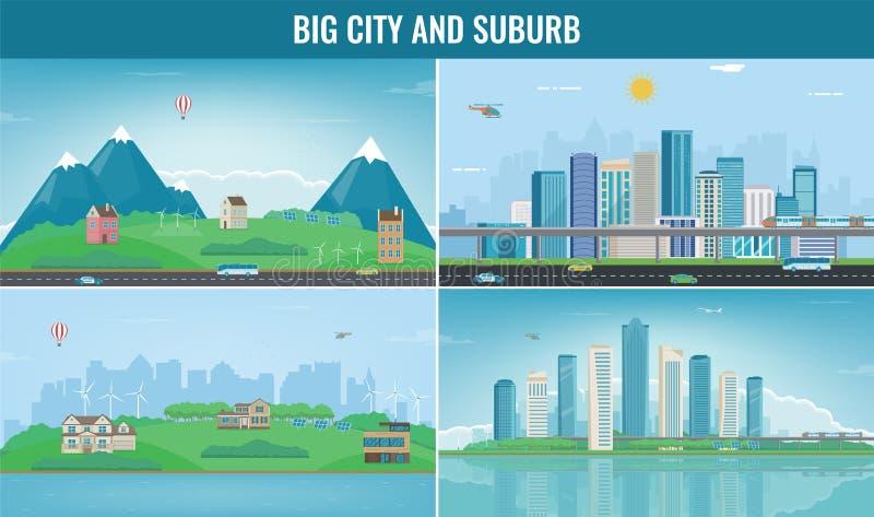 Cidade moderna com paisagem suburbana Construção e grupo da arquitetura Cidade e subúrbio modernos Vetor ilustração do vetor
