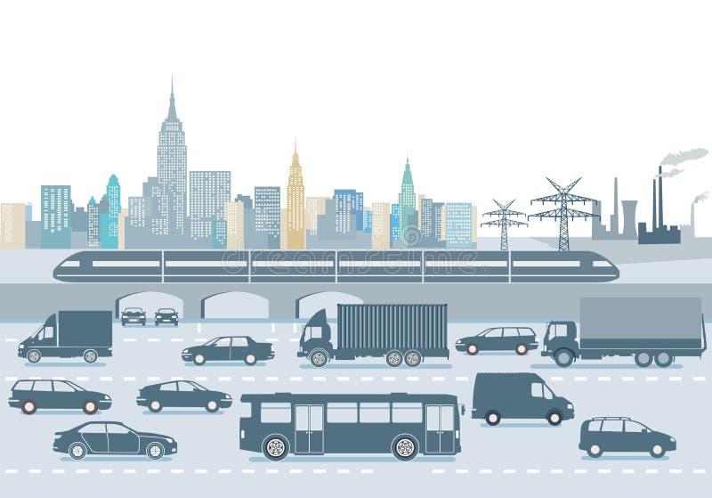 Cidade moderna com trânsito intenso ilustração do vetor