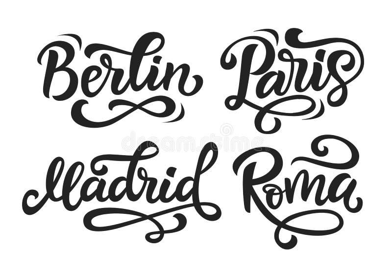 Cidade moderna de Paris Berlin Madrid Rome ilustração stock