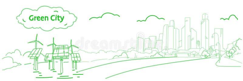 Cidade moderna do eco com turbinas eólicas e fluxo verde do esboço do fundo da arquitetura da cidade do arranha-céus do conceito  ilustração do vetor