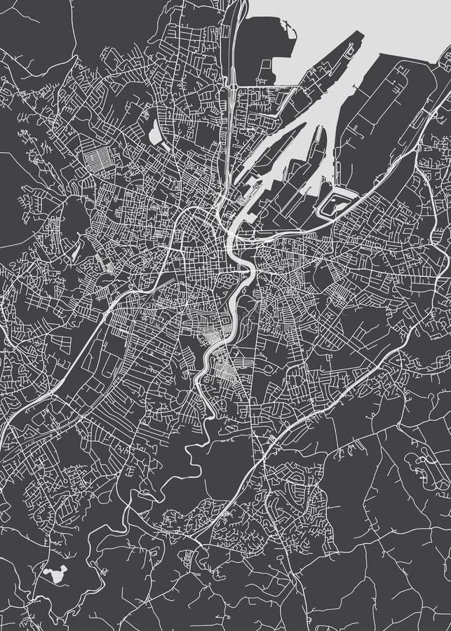 Cidade monocromática do plano detalhado de Belfast ilustração royalty free