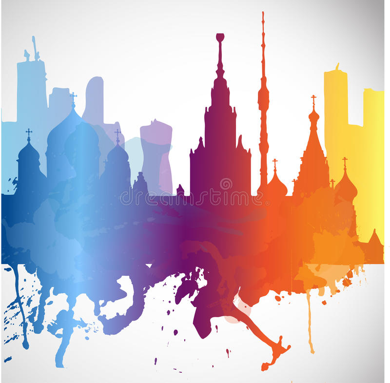 A cidade Moscou da folha de prova da silhueta com espirra de marcos das raias das gotas da aquarela imagens de stock