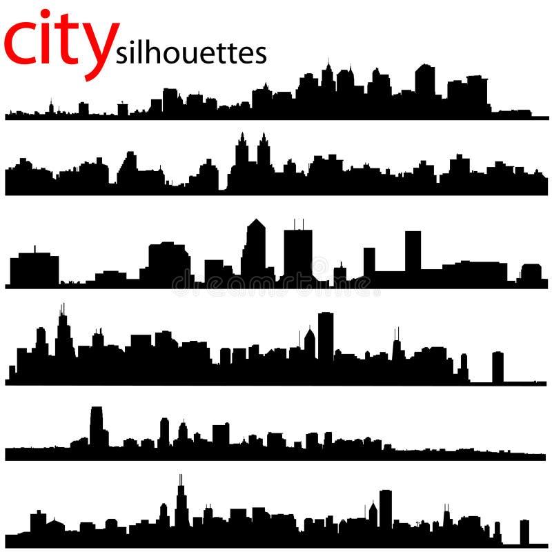 A cidade mostra em silhueta o vetor ilustração do vetor