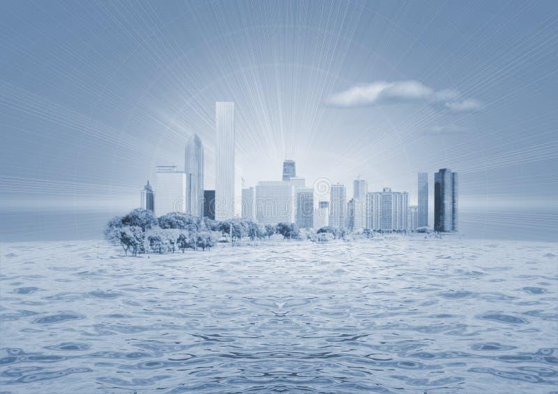 Cidade na água ilustração royalty free