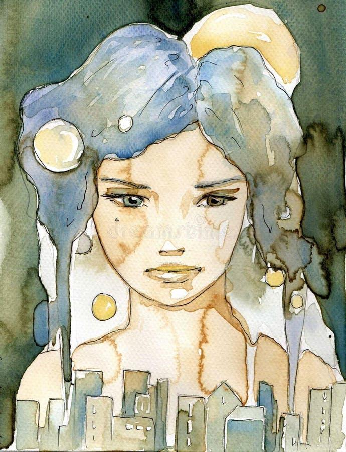 . Cidade na noite. ilustração royalty free