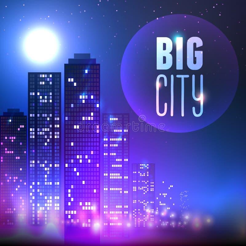 Cidade na noite ilustração royalty free
