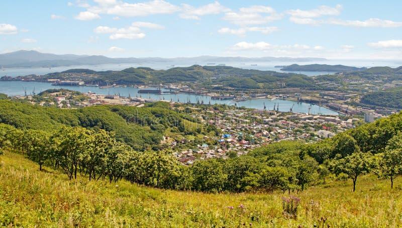 Cidade Nakhodka Vista de acima imagem de stock